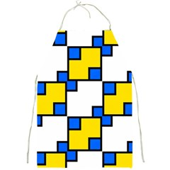 Yellow and blue squares pattern Full Print Apron by LalyLauraFLM