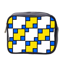 Yellow And Blue Squares Pattern Mini Toiletries Bag (two Sides) by LalyLauraFLM