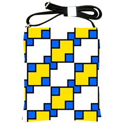 Yellow And Blue Squares Pattern Shoulder Sling Bag by LalyLauraFLM