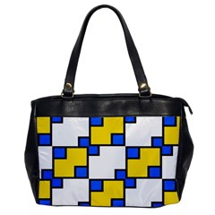 Yellow And Blue Squares Pattern Oversize Office Handbag (one Side) by LalyLauraFLM