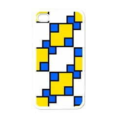 Yellow And Blue Squares Pattern Apple Iphone 4 Case (white) by LalyLauraFLM