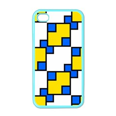 Yellow And Blue Squares Pattern Apple Iphone 4 Case (color) by LalyLauraFLM