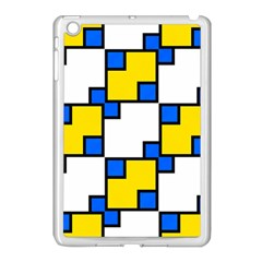 Yellow And Blue Squares Pattern Apple Ipad Mini Case (white) by LalyLauraFLM