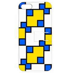 Yellow And Blue Squares Pattern Apple Iphone 5 Hardshell Case With Stand by LalyLauraFLM