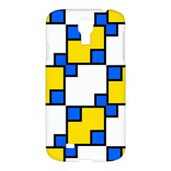 Yellow And Blue Squares Pattern Samsung Galaxy S4 I9500/i9505 Hardshell Case by LalyLauraFLM