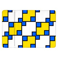 Yellow And Blue Squares Pattern Samsung Galaxy Tab 8 9  P7300 Flip Case by LalyLauraFLM