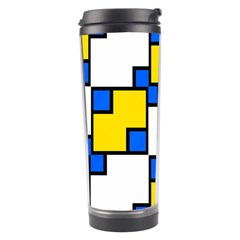Yellow And Blue Squares Pattern Travel Tumbler by LalyLauraFLM