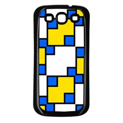 Yellow And Blue Squares Pattern Samsung Galaxy S3 Back Case (black) by LalyLauraFLM