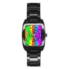 Rainbow Test Pattern Stainless Steel Barrel Watch by StuffOrSomething