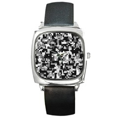Background Noise In Black & White Square Leather Watch by StuffOrSomething