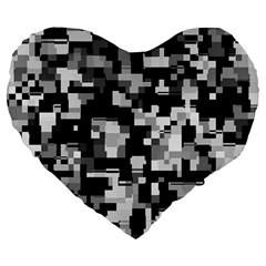 Background Noise In Black & White Large 19  Premium Heart Shape Cushion by StuffOrSomething