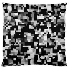 Background Noise In Black & White Large Flano Cushion Case (one Side)