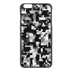 Background Noise In Black & White Apple Iphone 6 Plus Black Enamel Case by StuffOrSomething
