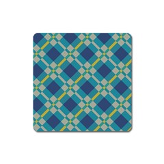 Squares And Stripes Pattern Magnet (square) by LalyLauraFLM