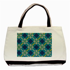 Squares And Stripes Pattern Basic Tote Bag by LalyLauraFLM