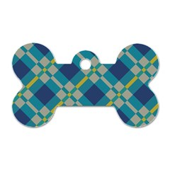 Squares And Stripes Pattern Dog Tag Bone (one Side) by LalyLauraFLM