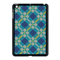 Squares And Stripes Pattern Apple Ipad Mini Case (black) by LalyLauraFLM
