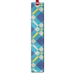Squares And Stripes Pattern Large Book Mark by LalyLauraFLM