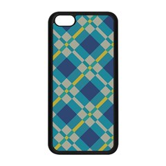 Squares And Stripes Pattern Apple Iphone 5c Seamless Case (black) by LalyLauraFLM