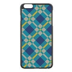 Squares And Stripes Pattern Apple Iphone 6 Plus Black Enamel Case by LalyLauraFLM