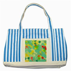 Smudged Shapes Striped Blue Tote Bag by LalyLauraFLM