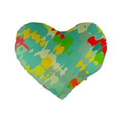 Smudged Shapes Standard 16  Premium Heart Shape Cushion  by LalyLauraFLM