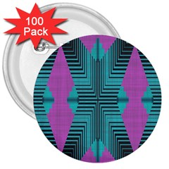 Tribal Purple Rhombus 3  Button (100 Pack) by LalyLauraFLM