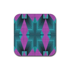 Tribal Purple Rhombus Rubber Coaster (square) by LalyLauraFLM