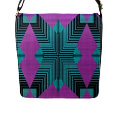 Tribal Purple Rhombus Flap Closure Messenger Bag (large) by LalyLauraFLM
