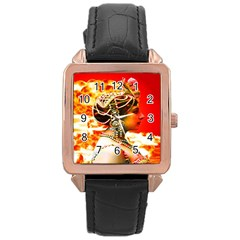 Mata Hari Rose Gold Leather Watch  by icarusismartdesigns