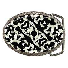 Black And White Print Belt Buckle (oval) by dflcprintsclothing