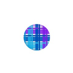 Blue & Purple Gingham Plaid 1  Mini Button by StuffOrSomething