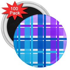 Blue & Purple Gingham Plaid 3  Button Magnet (100 Pack) by StuffOrSomething