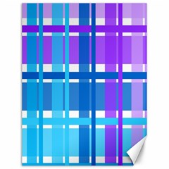 Blue & Purple Gingham Plaid Canvas 12  X 16  (unframed) by StuffOrSomething
