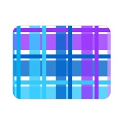 Blue & Purple Gingham Plaid Double Sided Flano Blanket (mini) by StuffOrSomething