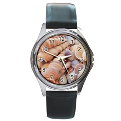 Seashells 3000 4000 Round Leather Watch (silver Rim) by yoursparklingshop