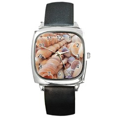 Seashells 3000 4000 Square Leather Watch by yoursparklingshop