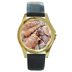 Sea Shells Round Leather Watch (gold Rim)  by yoursparklingshop