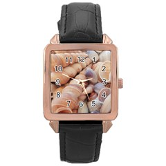 Sea Shells Rose Gold Leather Watch  by yoursparklingshop