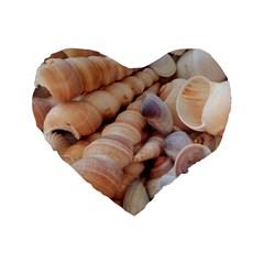 Sea Shells Standard 16  Premium Flano Heart Shape Cushion  by yoursparklingshop
