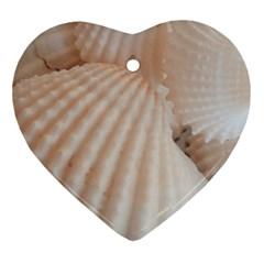 Sunny White Seashells Heart Ornament