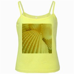 Sunny White Seashells Yellow Spaghetti Tank by yoursparklingshop