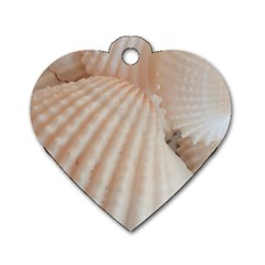Sunny White Seashells Dog Tag Heart (one Sided)  by yoursparklingshop
