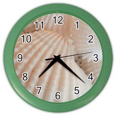 Sunny White Seashells Wall Clock (color) by yoursparklingshop