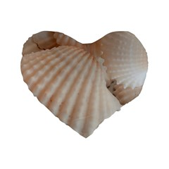 Sunny White Seashells Standard 16  Premium Flano Heart Shape Cushion
