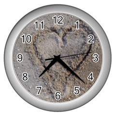 Heart In The Sand Wall Clock (silver)