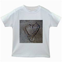 Heart In The Sand Kids T Shirt (white)