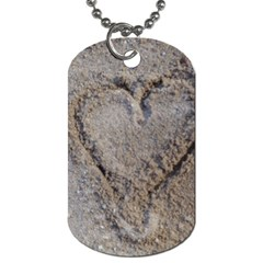 Heart In The Sand Dog Tag (one Sided)