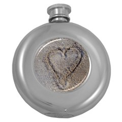 Heart In The Sand Hip Flask (round)