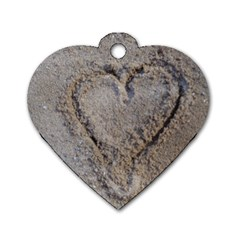 Heart In The Sand Dog Tag Heart (two Sided) by yoursparklingshop